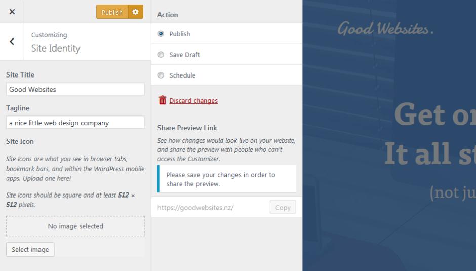 wordpress 4.9 customizer improvements