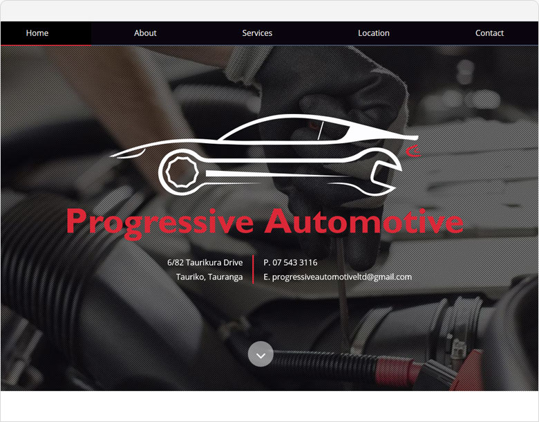 screenshot one page website for progressive automotive