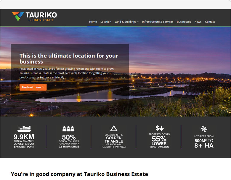 up and running tauriko business estate website