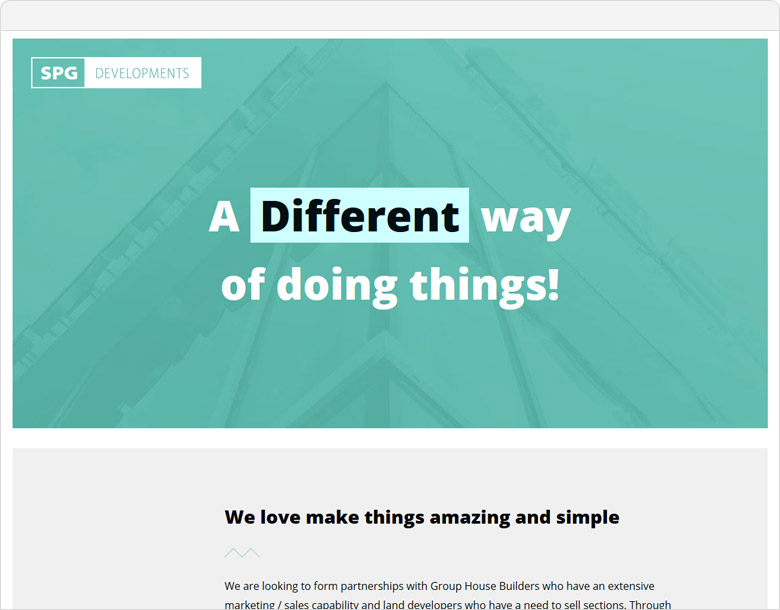 One Page website SPG Developments