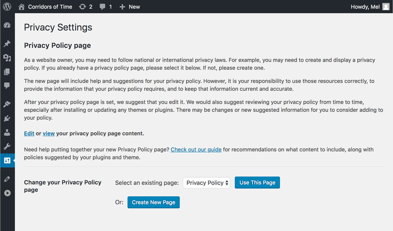 WordPress 4.9.6 privacy policy page