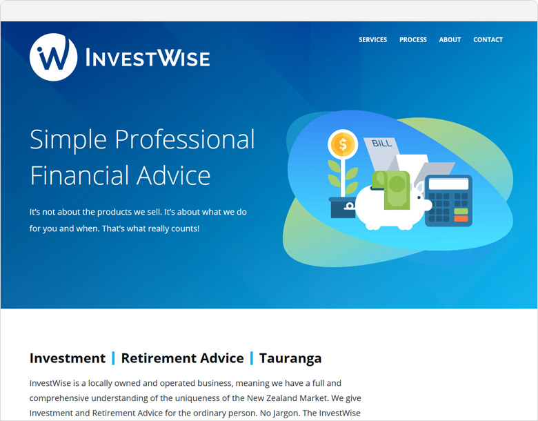One page website Investwise