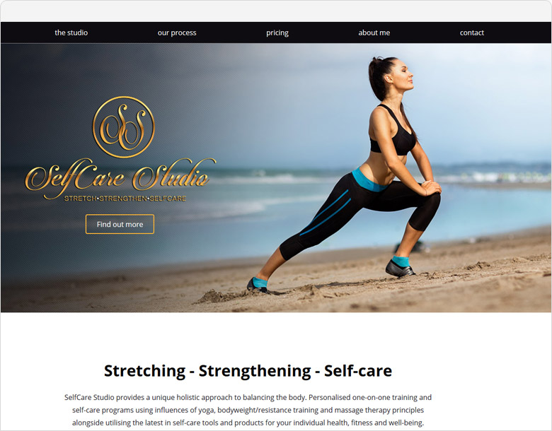 One-page website selfcare studio