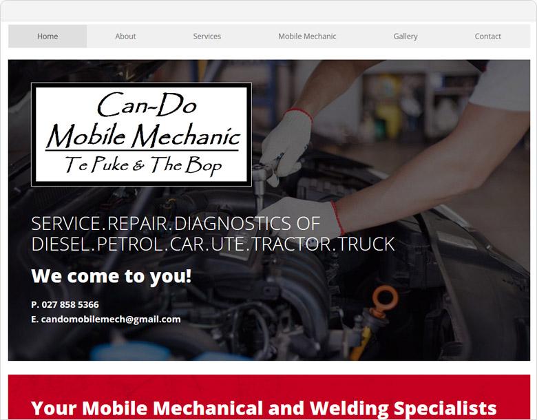 screenshot website cando mobile mechanic