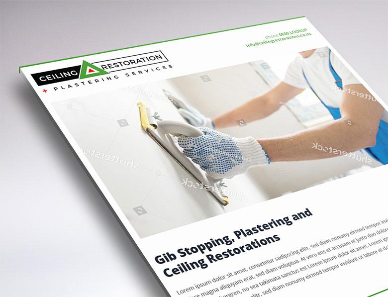 one-page website design for ceiling restorations