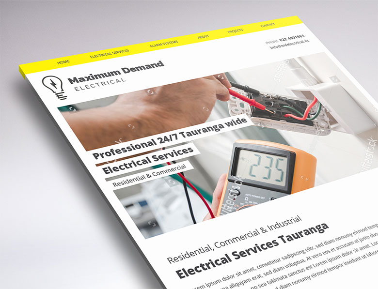 one-page website design for MD Eelectrical