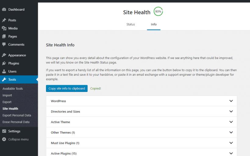 wordpress 5.2 site health info