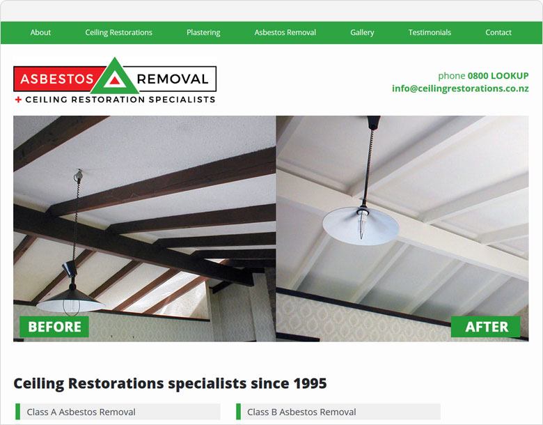 screenshot of the one page website for Ceiling Restorations