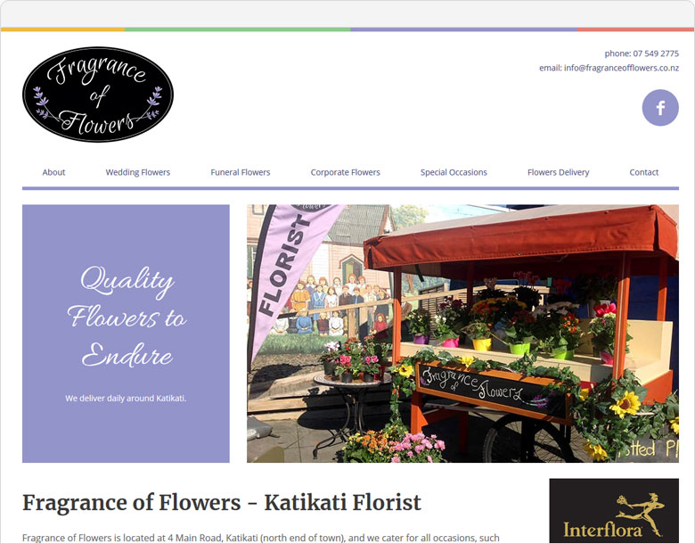 screenshot of the one-page website for Fragrance of Flowers