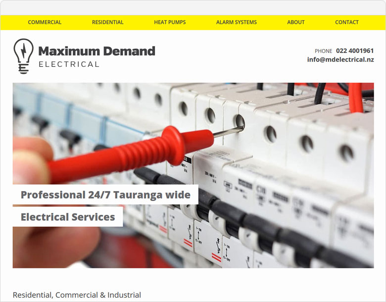 screenshot of the one page website for Maximum Demand Electrical