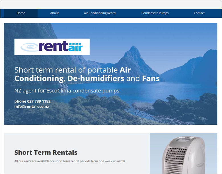 screenshot of the one-page website for Rentair