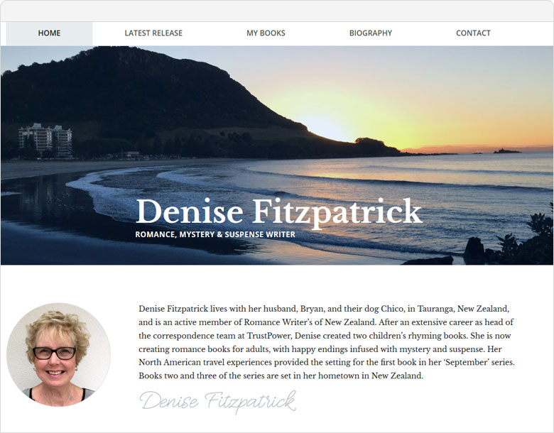screenshot of the one-page website for Denise Fitzpatrick