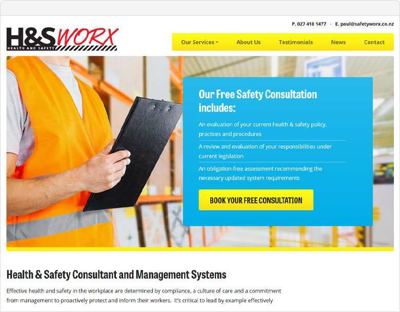 screenshot of the Health and Safety Worx website