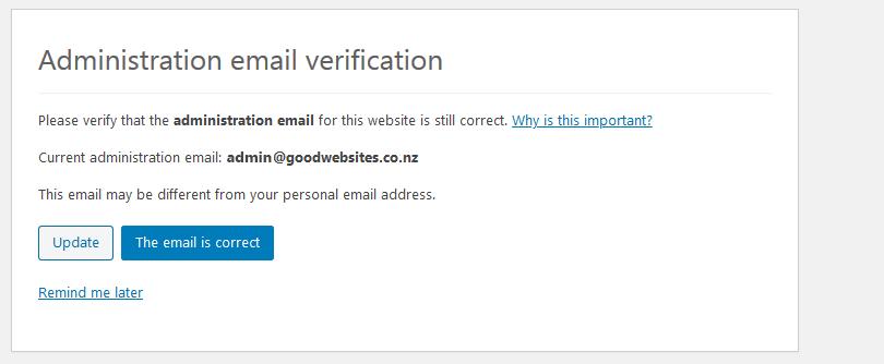 wordpress 5.3 admin email verification