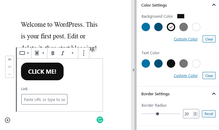 wordpress 5.3 button block