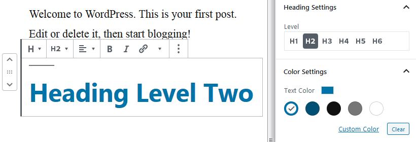 wordpress 5.3 heading block