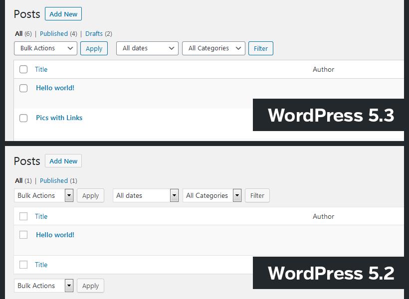wordpress 5.3 interface changes