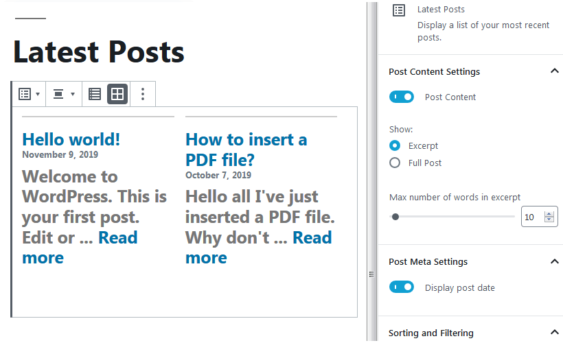 wordpress 5.3 latest post block