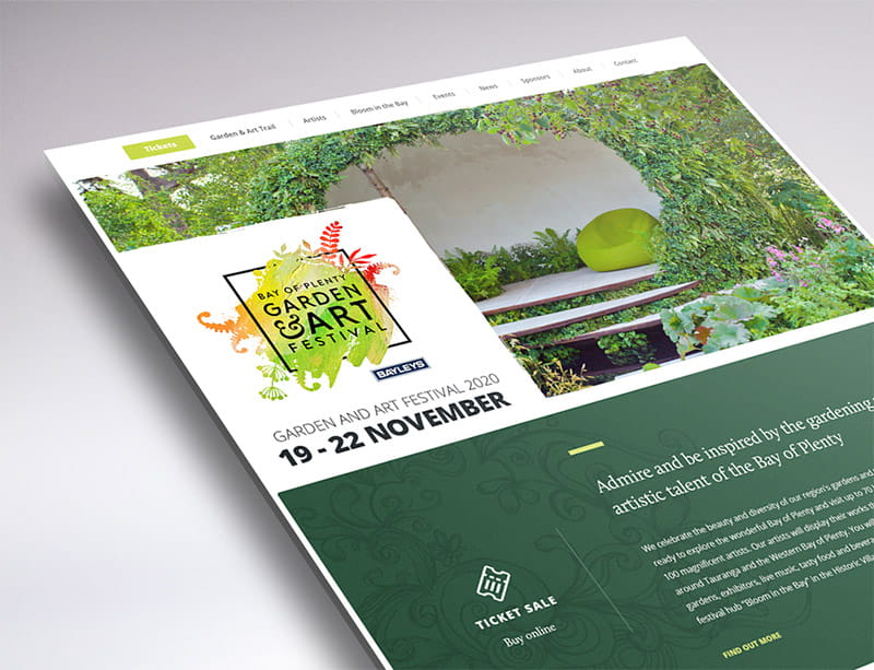website design garden and art festival