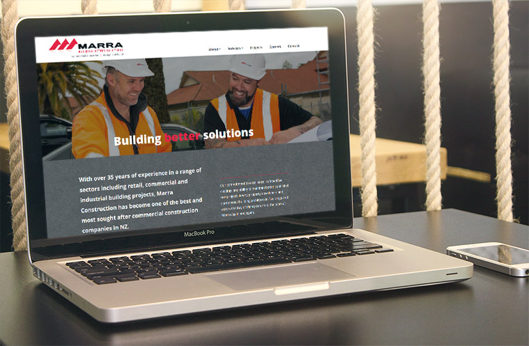 screenshot of the WordPress website of Marra Construction