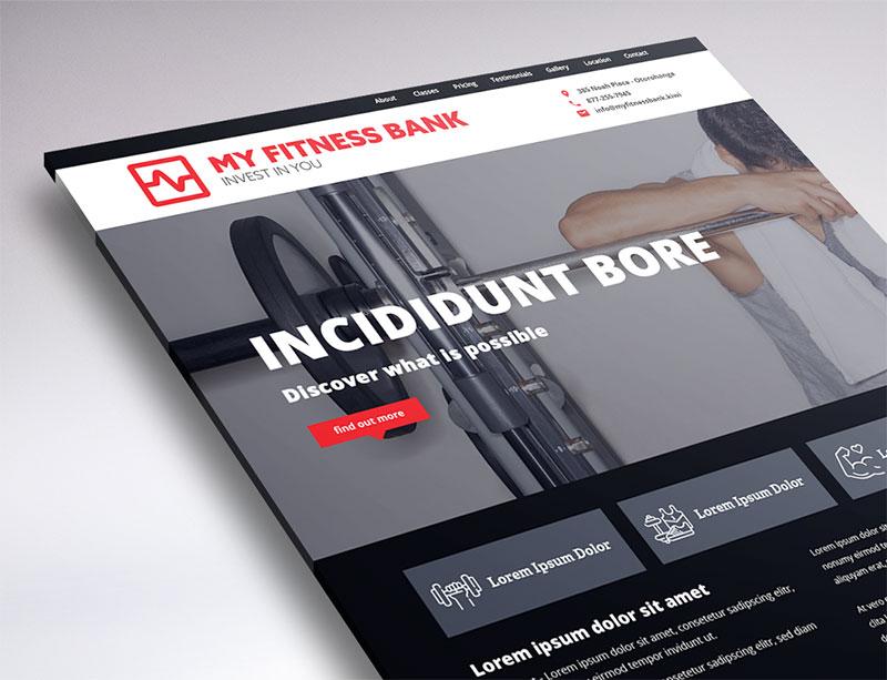 website design of My Fitness Bank