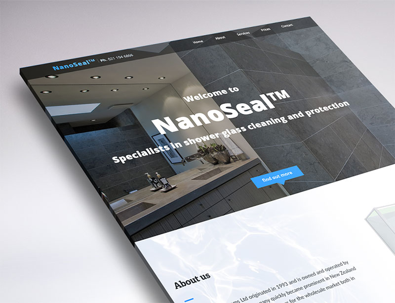 one page website design for nano seal