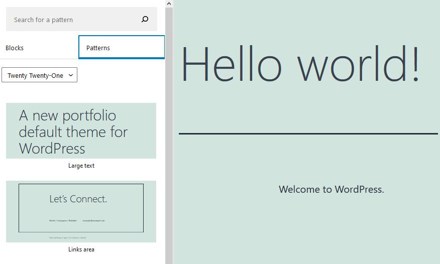 more block patterns in WordPress 5.6