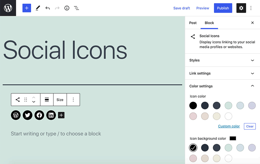 wordpress 5.7 social icons colours and sizing