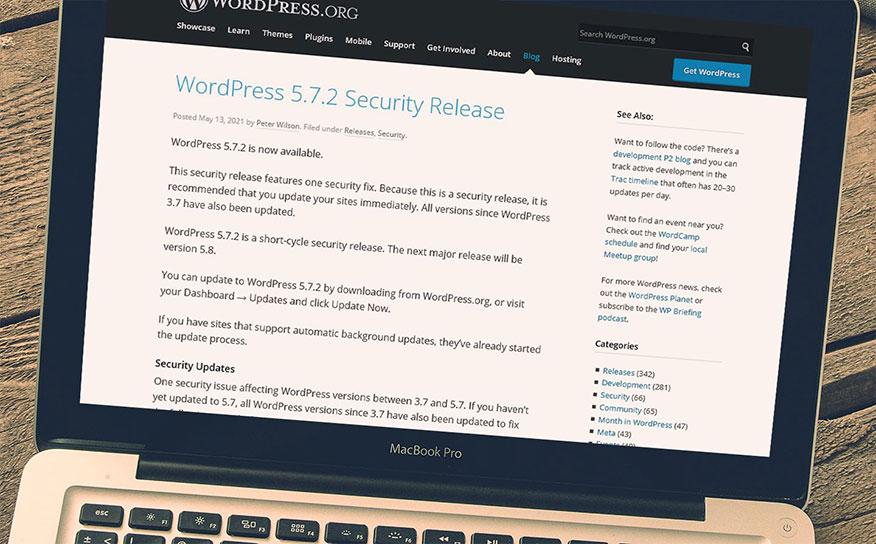 screenshot WordPress 5.7.2 security release