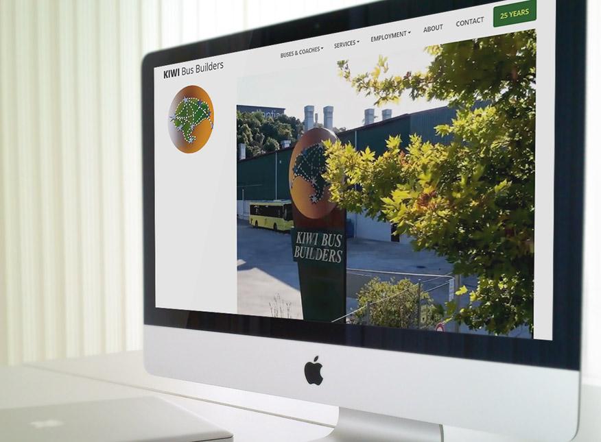 screenshot of the WordPress website of  Kiwi Bus Builders