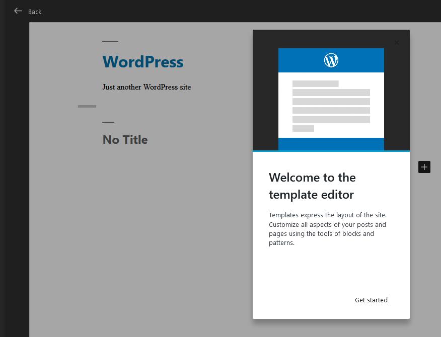 WordPress 5.8 template editor