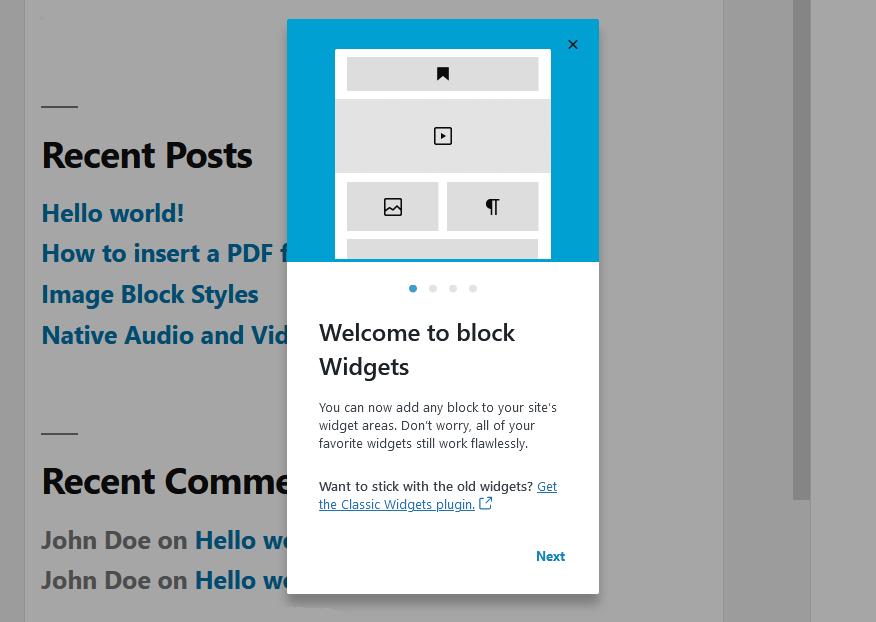 block-based widget areas in WordPress 5.8